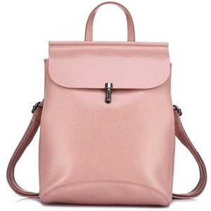 Leather Pink MultiFunctional Backpack